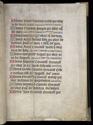 List Of Obits, In A Book Of Hours